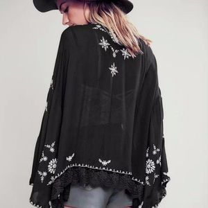 Free people embroidered flare cardigan